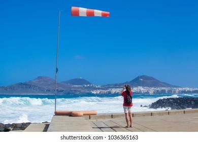 LAS PALMAS DE GRAN CANARIA, SPAIN - March 01: Las Canteras, the main town beach in Las Palmas de Gran Canaria under red flag  after passing of windstorm Emma through Canary Islands, on March 01, 2018