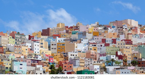 Las Palmas de Gran Canaria, colorful flat-roofed houses of Risco de San Jose, one of the small hills which belong to the city