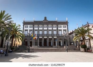 LAS PALMAS DE GRAN CANARIA, SPAIN – FEBRUARY 17, 2017: City hall of Las Palmas de Gran Canaria, in Las Palmas, Canary Islands, Spain, on February 17, 2017