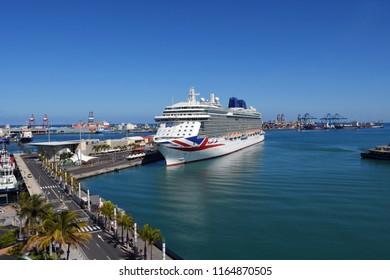 Las Palmas de Gran Canaria, Spain - April 16, 2018: The luxury cruise ship Britannia of P&O Cruises company docked in Gran Canaria Port, Canary islands, Spain.