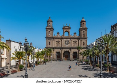 LAS PALMAS DE GRAN CANARIA, SPAIN - MARCH 10, 2019: The Cathedral of Saint Ana situated in the old district Vegueta. Copy space for text