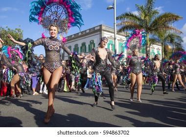 Las Palmas de Gran Canaria, Spain - March 04: Participants and viewers enjoy  Main Carnival Parade, March 4, 2017  in Las Palmas de Gran Canaria, Spain