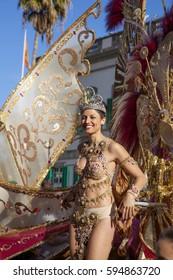 Las Palmas de Gran Canaria, Spain - March 04: Carnival Queen heads the Main Carnival Parade, March 4, 2017  in Las Palmas de Gran Canaria, Spain