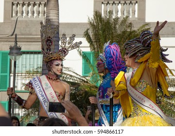 Las Palmas de Gran Canaria, Spain - March 04: Drag Queen and Competition finalists group at Main Carnival Parade, March 4, 2017  in Las Palmas de Gran Canaria, Spain