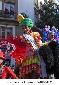 Las Palmas de Gran Canaria, Spain - March 04: Drag Queen Competition finalist greets the public  at Main Carnival Parade, March 4, 2017  in Las Palmas de Gran Canaria, Spain