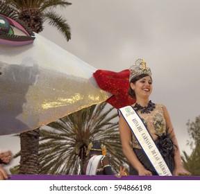 Las Palmas de Gran Canaria, Spain - March 05: Queen of the Carnival at the traditional Closing  ceremony - Burial of the Sardine,  March 5, 2017  in Las Palmas de Gran Canaria, Spain