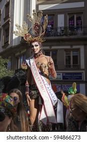 Las Palmas de Gran Canaria, Spain - March 04: Drag Queen greets the public at Main Carnival Parade, March 4, 2017  in Las Palmas de Gran Canaria, Spain