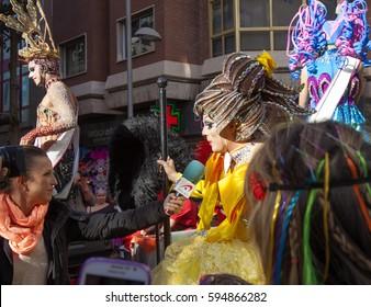 Las Palmas de Gran Canaria, Spain - March 04: Drag Queen Competition finalist speaks to the press  at Main Carnival Parade, March 4, 2017  in Las Palmas de Gran Canaria, Spain