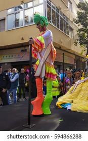 Las Palmas de Gran Canaria, Spain - March 04: Drag Queen Competition greets the public  at Main Carnival Parade, March 4, 2017  in Las Palmas de Gran Canaria, Spain