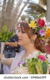 "Las Palmas de Gran Canaria, Spain - March 04: ""Eternal spring"" character at  Main Carnival Parade, March 4, 2017  in Las Palmas de Gran Canaria, Spain"