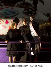 Las Palmas de Gran Canaria, Spain - March 05: Queen of the Carnival, Drag Queen and a city council rep at Closing ceremony,  Burial of the Sardine,  March 5, 2017  in Las Palmas de Gran Canaria, Spain