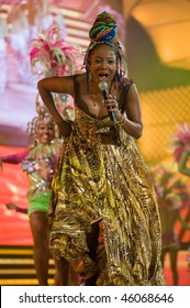 LAS PALMAS - FEBRUARY 5: Singer Lucrecia from Cuba performs onstage during the carnival' Queens Gala February 5, 2010 in Las Palmas, Spain