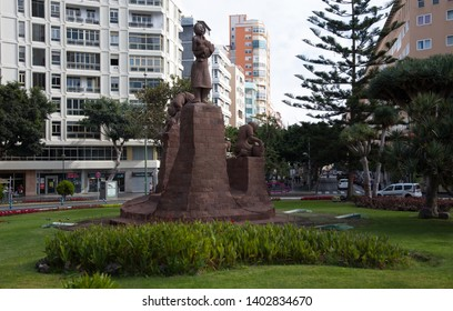Las Palmas, Gran Canaria, Spain - 31 December, 2017. Stone sculpture group with four different activities of the original inhabitants of the Canary Island, Commonly known as Guanches. 1977 L.A. Montul