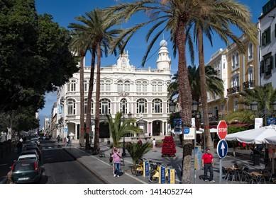 Las Palmas, Gran Canaria, Spain - 31 December, 2017. Las Palmas city centre with view on Literary Cabinet