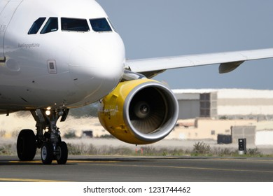 Las Palmas November 7, Airbus A320-214, Vueling Airlines, by taxiway to start the takeoff. November 7, 2018, Las Palmas, (Canary Islands) Spain.