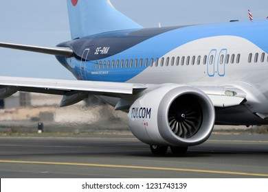 Las Palmas November 7, Boeing 737-8 MAX, TUI, with its impressive engines, by taxiway to start the takeoff. November 7, 2018, Las Palmas, (Canary Islands) Spain.