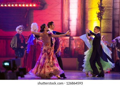 LAS PALMAS, SPAIN - FEBRUARY 1: Unidentified dancers from Canary Islands, during Queens Gala 's opening show on February 1, 2013 in Las Palmas, Spain.