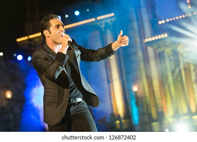 LAS PALMAS, SPAIN - FEBRUARY 1: Singer David Bustamante from Spain, performs onstage during the carnival Queens Gala on February 1, 2013 in Las Palmas, Spain.
