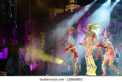 LAS PALMAS, SPAIN - FEBRUARY 15:  Isidro Javier Perez Mateo as drag Vulcano (m), from Canary Islands, with unidentified assistants during Drag Queen Gala on February 15, 2013 in Las Palmas, Spain