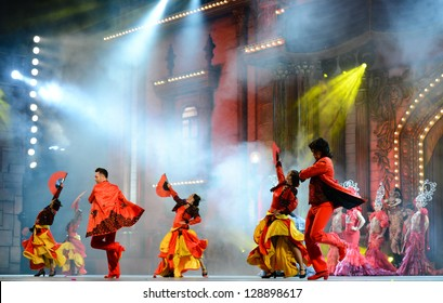 LAS PALMAS, SPAIN - FEBRUARY 15: Unidentified dancers from Ballet Espana (BNE), from Madrid, performing onstage during the Carnival's Drag Queen Gala on February 15, 2013 in Las Palmas, Spain