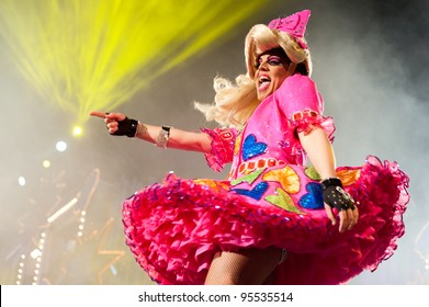LAS PALMAS ,SPAIN - FEBRUARY 17: Rayco Santana, from Canary Islands, perform as Drag Asharik onstage during The Carnival's Drag Queen Gala on February 17, 2012 in Las Palmas, Spain