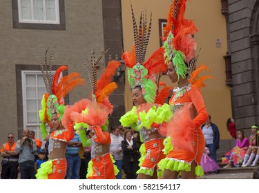 Las Palmas, Spain - February, 18: Dancing group performs at Children Carnival at Vegueta in front of Ayuntamiento, City hall at Annual Carnival, February 18, 2017 in Las Palmas de Gran Canaria, Spain