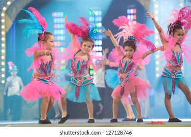 LAS PALMAS, SPAIN - FEBRUARY 2: Unidentified children from dance-group Brisa de Volcan from Canary Islands, performs onstage during Children's dance contest on Saturday 2, 2013 in Las Palmas, Spain.