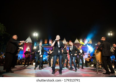 LAS PALMAS, SPAIN - FEBRUARY 28: The band Medley Latino from Canary Islands, onstage during carnival Queens Gala onstage on February 28, 2014 in Las Palmas, Spain.