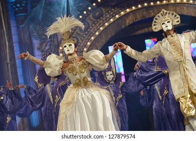 LAS PALMAS , SPAIN - FEBRUARY 8: Unidentified members from dance group Araguime, from Canary Islands, during the Adult Comparsas Contest on February 8, 2013 in Las Palmas, Spain