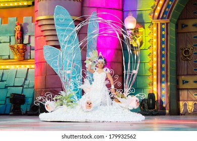 LAS PALMAS, SPAIN - March 2: Yamiley Quevedo Urbano from Canary Islands, performs onstage during the carnival Queens Gala for children March 2, 2014 in Las Palmas, Spain