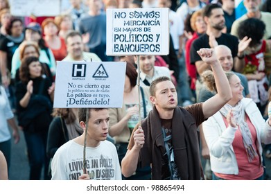 LAS PALMAS, SPAIN - MARCH 29: Unidentified workers protesting against new labor reforms and austerity cuts, during the Spanish general strike 29-M on March 29, 2012 in Las Palmas, Spain