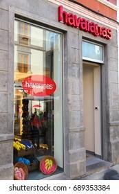 LAS PALMAS, SPAIN - NOVEMBER 30, 2015: Havaianas store at Triana shopping street in Las Palmas, Gran Canaria, Spain. Canary Islands had record 12.9 million visitors in 2014.