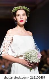 LAS PALMAS, SPAIN-MARCH 13, 2015: Laura Medina walks the runway wearing a wedding dress from designer Elena Rubio during Gran Canaria Moda Calida 2016 Bridal Collection at Museum Nestor.