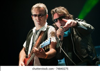 LAS PALMAS-MAR 26: Guitarist Gustavo Alonso and singer Carlos Catana performs onstage during Festival Perversiones and Diversiones on March 26, 2011 in Las Palmas, Spain
