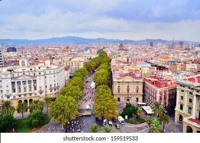 Las Ramblas main Barcelona Street top view