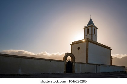 Las Salinas, famous church by the sea of Almeria: Old restored church in Cabo de Gata, more specifically in Las Salinas de Cabo de Gata, located next to the sea was restored a few years ago.