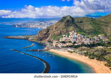 Las Teresitas, Tenerife, Canary islands, Spain: Playa de Las Teresitas, a famous beach near Santa Cruz de Tenerife with scenic San Andres village
