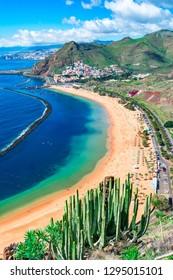 Las Teresitas, Tenerife, Canary islands, Spain: Playa de Las Teresitas, a famous beach near Santa Cruz de Tenerife with scenic San Andres village