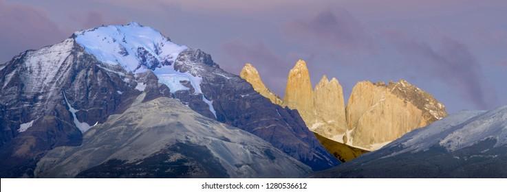 Las Torres before sunrise. Torres del Paine National Park. Chile. South America. UNESCO biosphere.