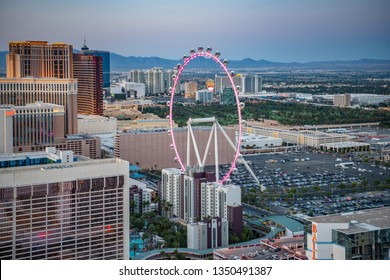 Las Vagas Nevada, April 2018, aerial view of the high roller