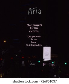 LAS VEGAS - 10/02/2017 - The Aria and Cosmopolitan signs display messages of prayers for the shooting victims and thanks for First Responders