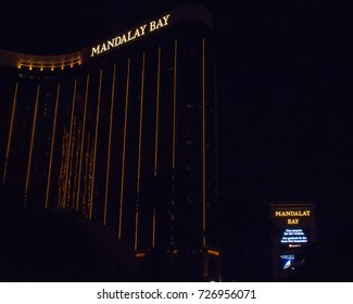 """LAS VEGAS - 10/02/2017 - The Mandalay Bay stands silent in the aftermath of the shooting. The casinos' sign reads """"Our prayers for the victims.Our gratitude for the brave First Responders."""""""