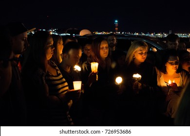 LAS VEGAS - 10/02/2017 - Mourners of the Las Vegas Shooting victims attend a candlelight vigil on the Las Vegas Strip.