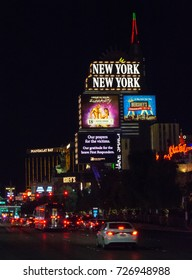 """LAS VEGAS - 10/02/2017 - The New York, NY Casino displays the message """"Our prayers for the victims. Our gratitude for the brave First Responders"""". The Mandalay Bay stands in the background."""