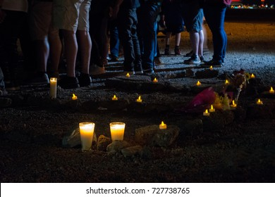 LAS VEGAS - 10/02/2017 - Rocks on the ground spell out RIP at a candlelight vigil for shooting victims in Las Vegas.