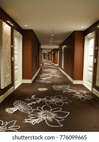 LAS VEGAS, NEVADA—APRIL 2017:  Brown and white carpets with floral design at the hallways of the Wynn Las Vegas at the Strip.