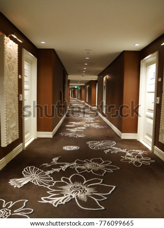 LAS VEGAS, NEVADA—APRIL 2017: Brown and white carpets with floral design at the hallways of the Wynn Las Vegas at the Strip. - Image
