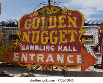 LAS VEGAS, NEVADA—APRIL 2017:  Front view close up of the old billboard of the Golden Nugget gambling hall entrance at the Neon Museum or neon boneyard in Las Vegas, Nevada.