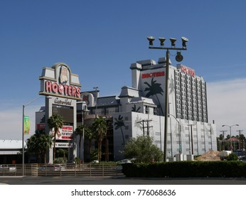 LAS VEGAS, NEVADA—APRIL 2017: Façade of the Hooters Casino Hotel in Las Vegas, Nevada, with light blue skies in the background.