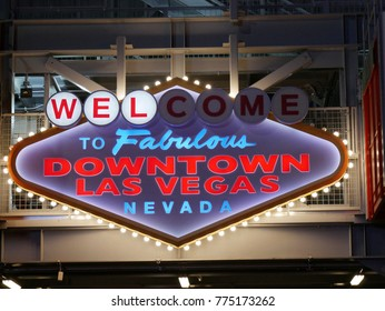 """LAS VEGAS, NEVADA—APRIL 2017: Neon sign with colored lights of the """"Welcome to Fabulous downtown Las Vegas, Nevada"""" at the tower of Fremont Street."""